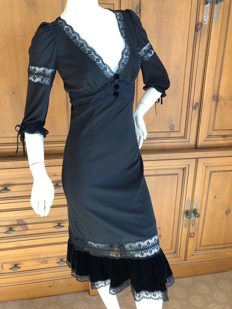 "D&G Dolce & Gabbana Sheer Lace Panel Little Black Dress with Velvet Trim Size 38 Bust 36"" Waist 25"" Hips 39"""