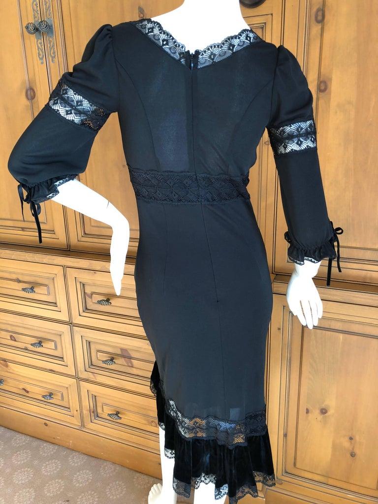 D&G Dolce & Gabbana Sheer Lace Panel Little Black Dress with Velvet Trim For Sale 2