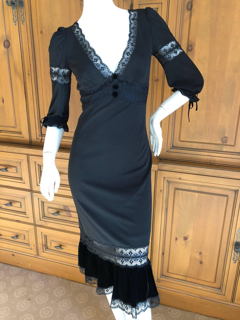 D&G Dolce & Gabbana Sheer Lace Panel Little Black Dress with Velvet Trim In Excellent Condition For Sale In San Francisco, CA