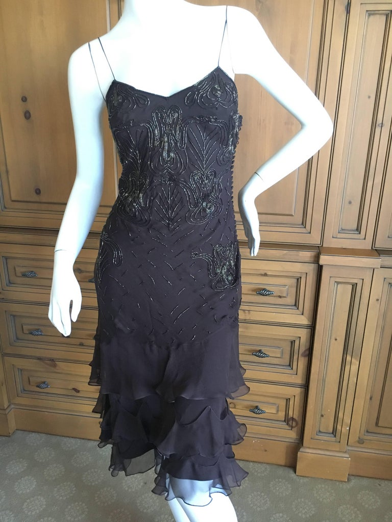 Christian Dior Bead Embellished Silk Chiffon Cocktail Dress by John Galliano  For Sale 1
