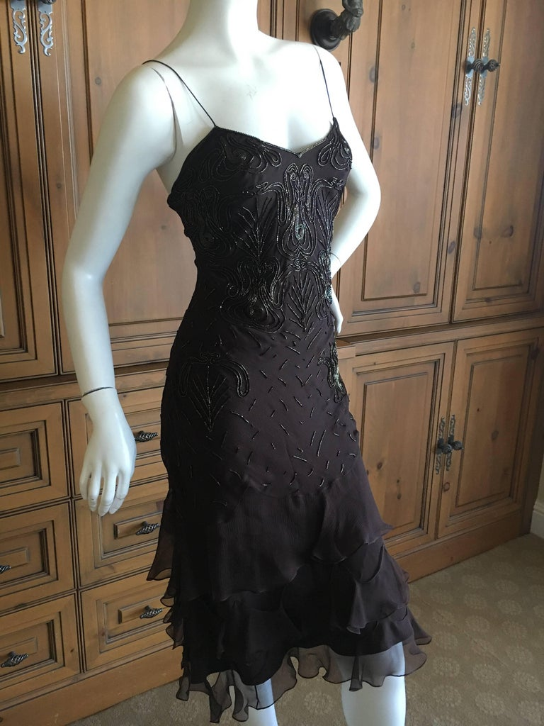 Christian Dior Bead Embellished Silk Chiffon Cocktail Dress by John Galliano  For Sale 3