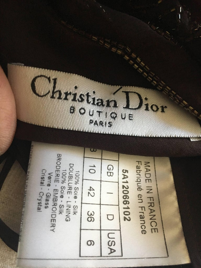 Christian Dior Bead Embellished Silk Chiffon Cocktail Dress by John Galliano  For Sale 4