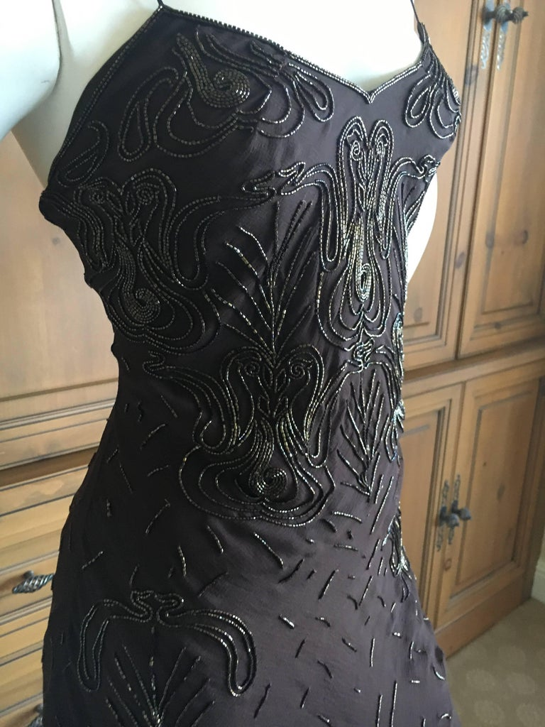 Christian Dior Bead Embellished Silk Chiffon Cocktail Dress by John Galliano  For Sale 2