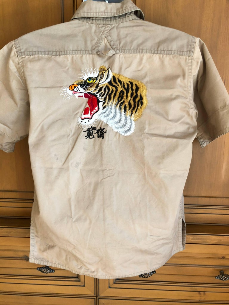 Kansai Yamamoto Khaki Men's Military Shirt with Tiger Embroidery For Sale 1