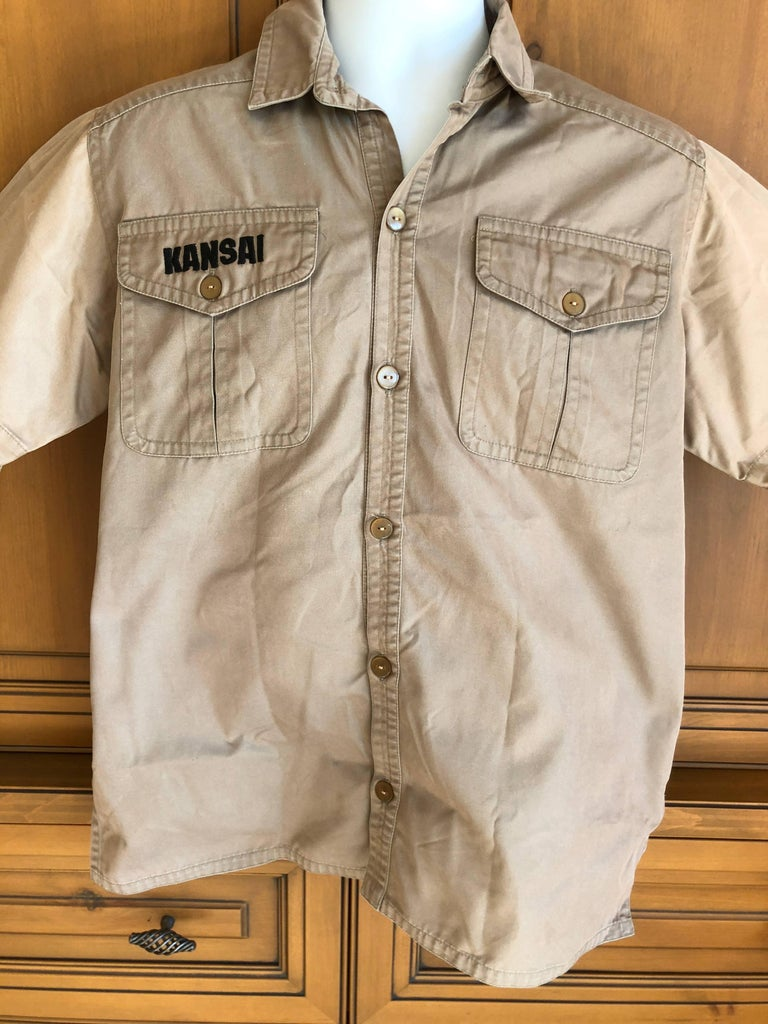 Kansai Yamamoto Khaki Men's Military Shirt with Tiger Embroidery In Good Condition For Sale In San Francisco, CA