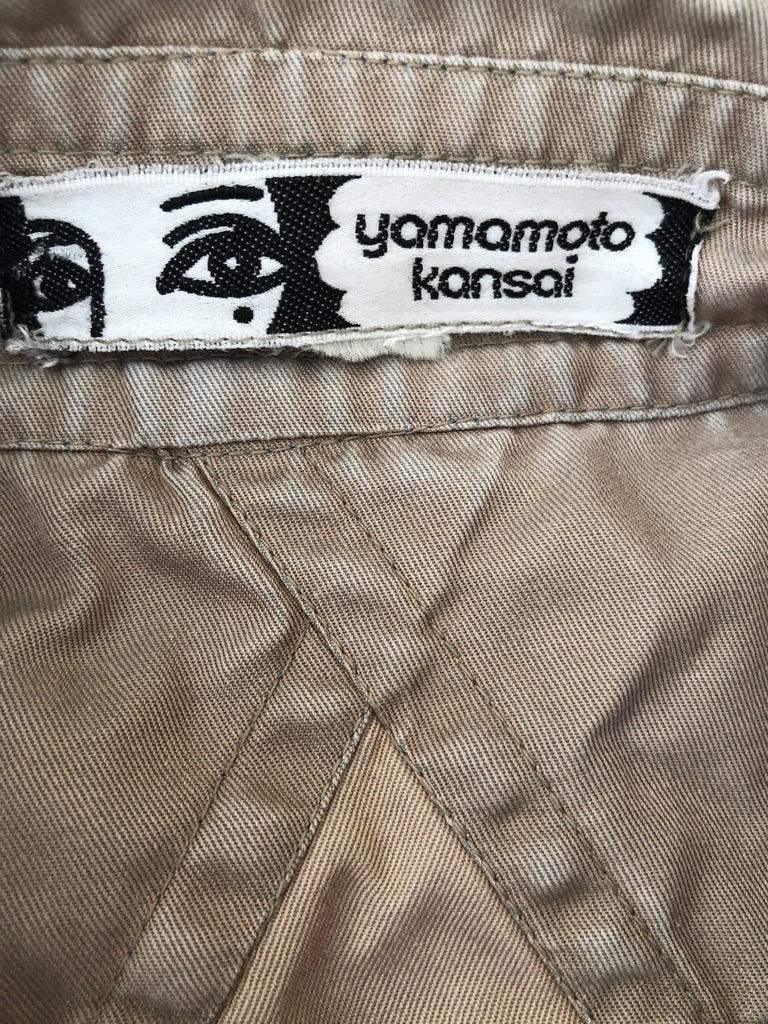 Beige Kansai Yamamoto Khaki Men's Military Shirt with Tiger Embroidery For Sale
