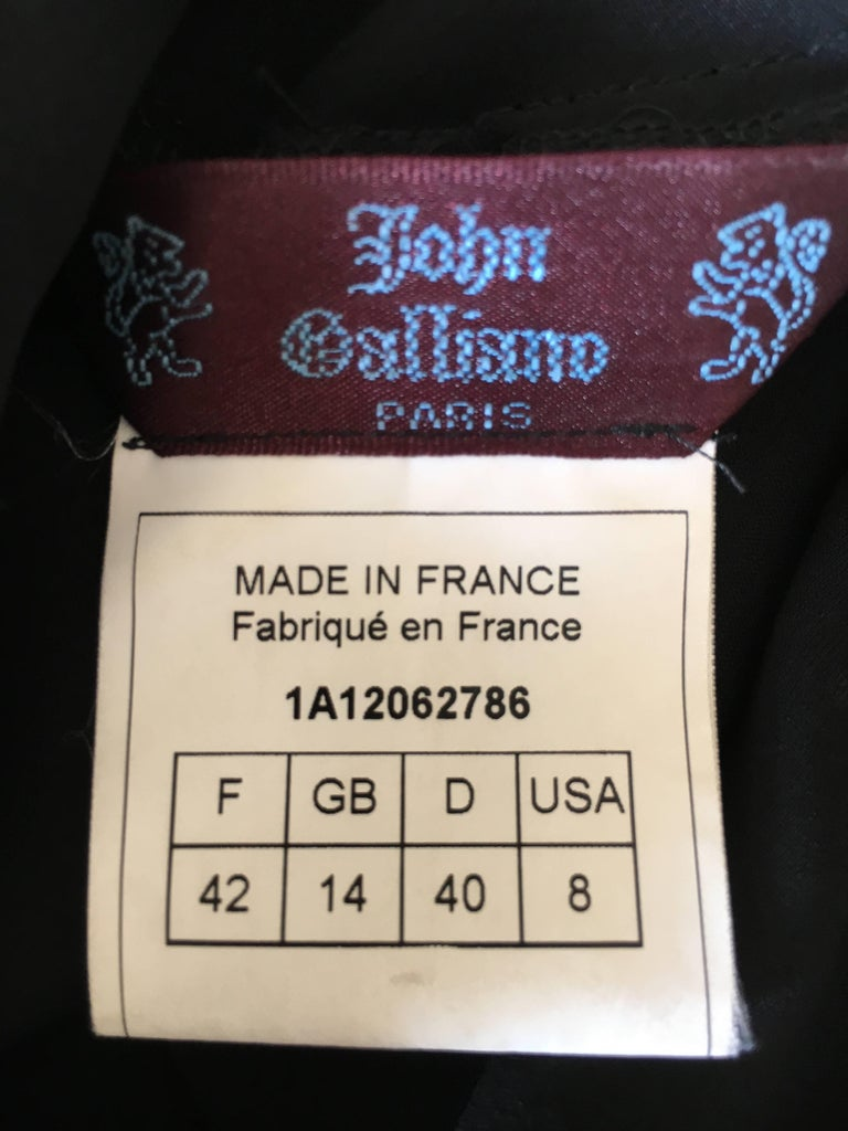 John Galliano 90s Long Black Bias Cut Floral Appliqué Evening Dress with`Shawl For Sale 6