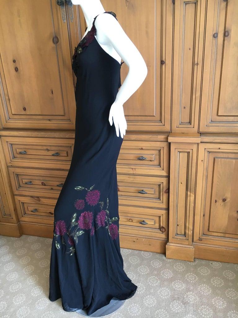 John Galliano 90s Long Black Bias Cut Floral Appliqué Evening Dress with`Shawl For Sale 2