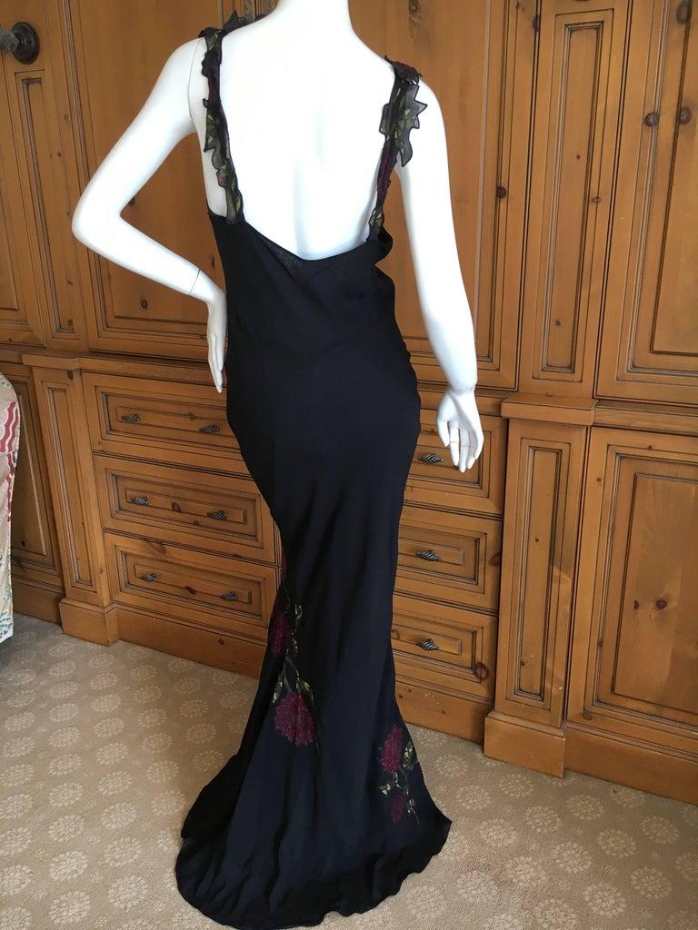 John Galliano 90s Long Black Bias Cut Floral Appliqué Evening Dress with`Shawl For Sale 4