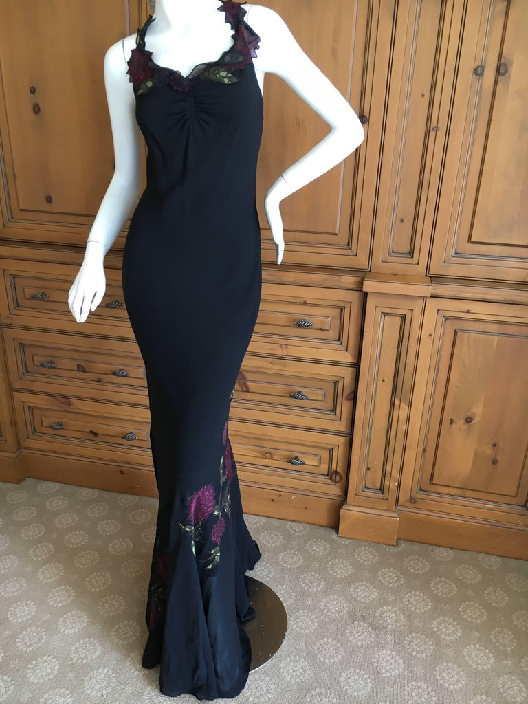 John Galliano 90s Long Black Bias Cut Floral Appliqué Evening Dress with`Shawl In Excellent Condition For Sale In San Francisco, CA