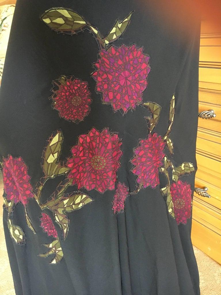 John Galliano 90s Long Black Bias Cut Floral Appliqué Evening Dress with`Shawl For Sale 3