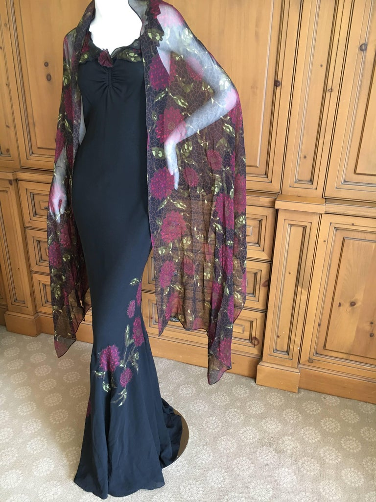 John Galliano 90s Long Black Bias Cut Floral Appliqué Evening Dress with`Shawl For Sale 5