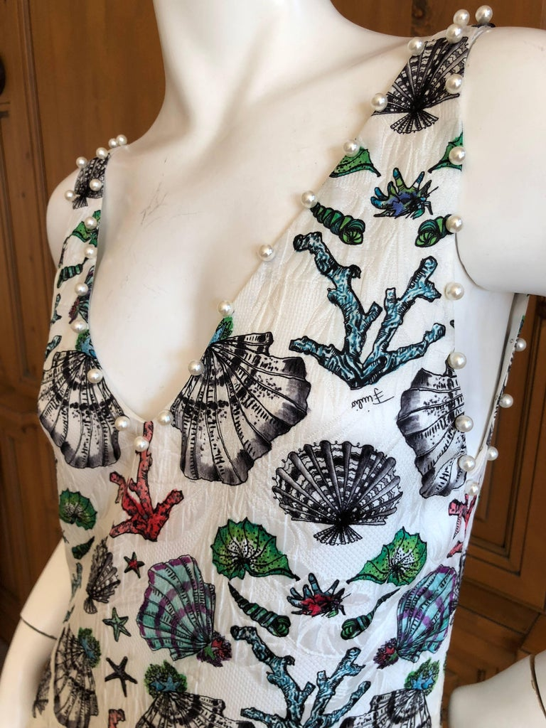 Emilio Pucci Pearl Trim Silk Seashell Print Day Dress For Sale 2