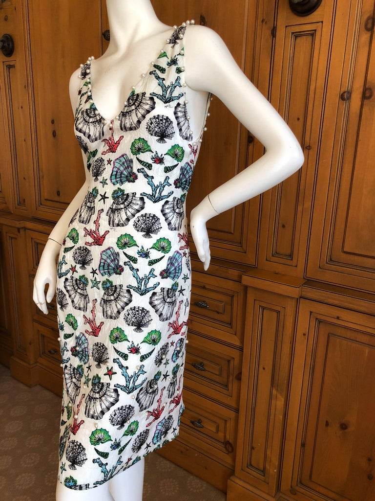 Emilio Pucci Pearl Trim Silk Seashell Print Day Dress For Sale 3