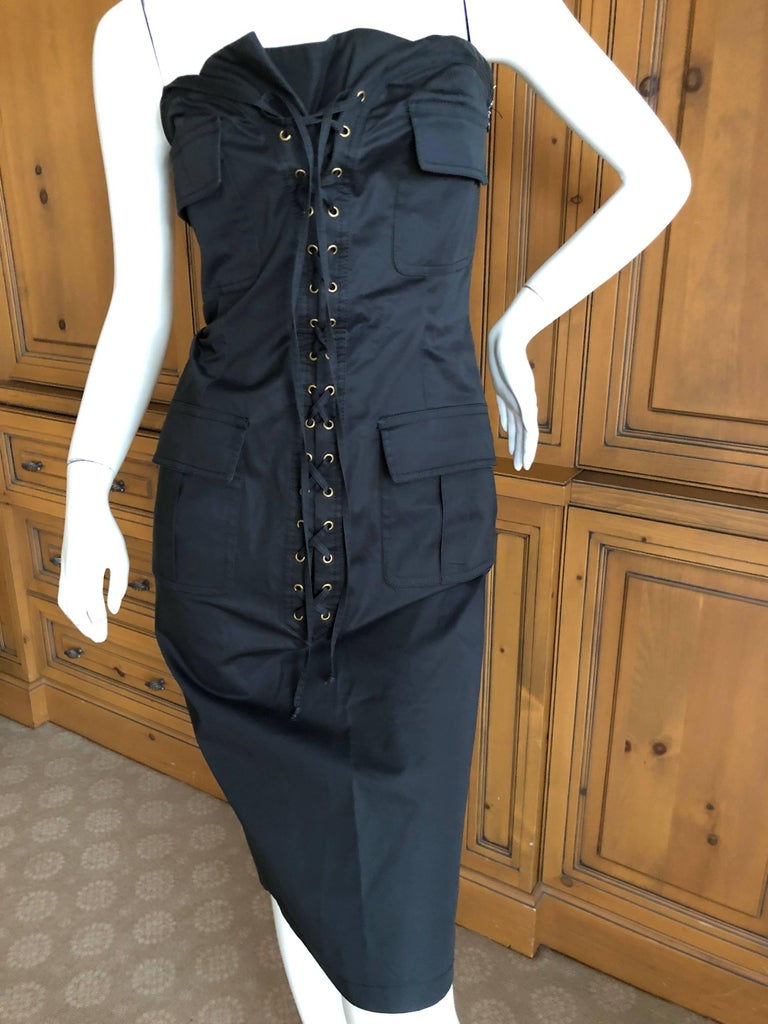 Yves Saint Laurent by Tom Ford Strapless Black Safari Dress with Corset Lacing  For Sale 2