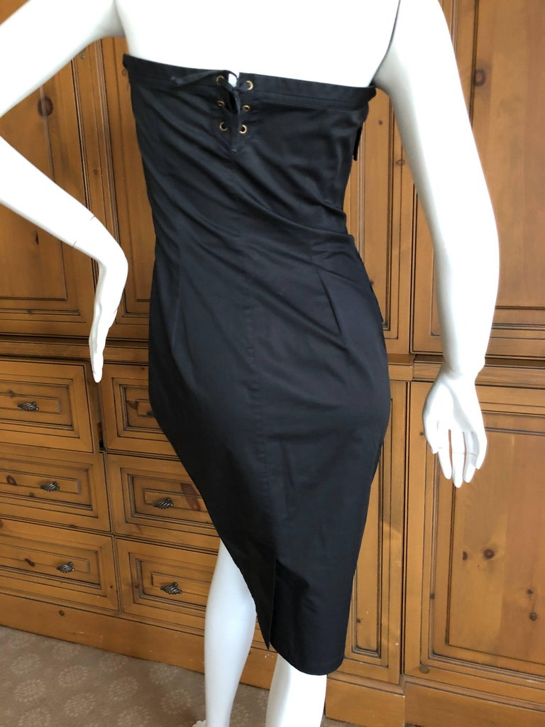 Yves Saint Laurent by Tom Ford Strapless Black Safari Dress with Corset Lacing  For Sale 3