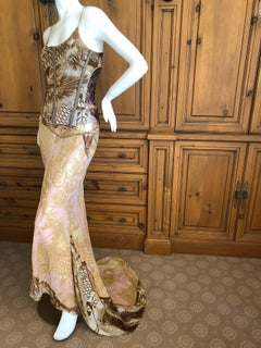 Roberto Cavalli Vintage Gold Trim Silk Corseted Evening Dress with Full Train