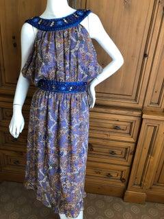 John Galliano Exquisite Jewel Embellished Silk Paisley Dress NWT