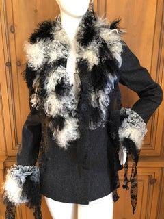 John Galliano Autumn 1995 Jacket w Detachable Elizabethan Ruffle Lace Fur Collar