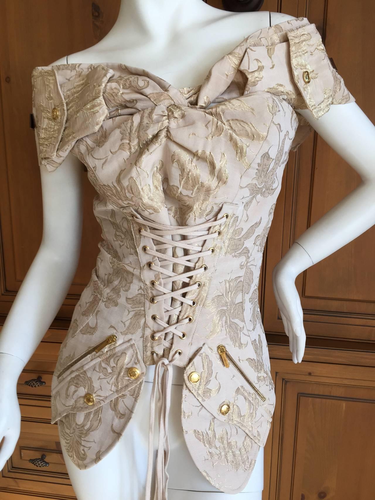 christian dior by john galliano gold jacquard corset lace top at 1stdibs