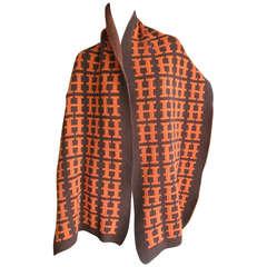 """Hermes Vintage Pure Cashmere """"H"""" Scarf / Blanket"""
