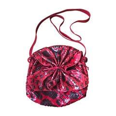 Carlos Falchi Red Leopard Pattern Snakeskin Bag