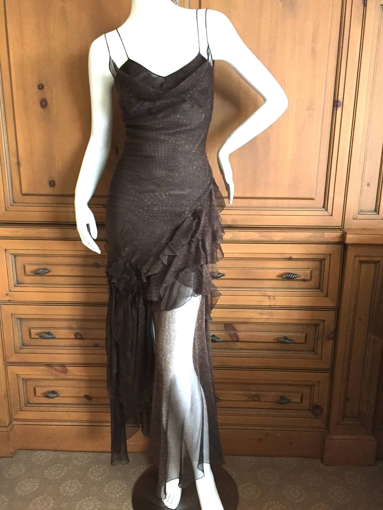 John Galliano Bias Cut Vintage Reptile Print Silk Dress at ...