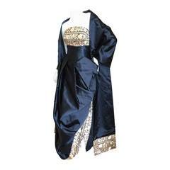 Paul-Louis Orrier Paris Black Strapless Gown w Gold Brocade & Shawl