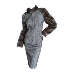 Giuliana Teso Luxe Mink Sleeve Suit NEW