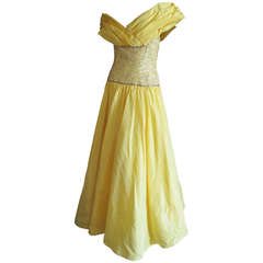 Murray Arbeid London Vintage 1983 Yellow Evening Gown