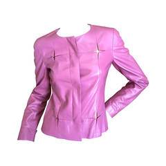 Chanel '01 Pink Leather Jacket with Gold Details