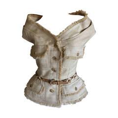 Christian Dior by John Galliano Off the Shoulder Silk Fringe Jacket