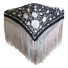 Antique Embroidered Black and Cream Spanish Piano Shawl