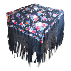Antique Black and Colorful Spanish Piano Shawl