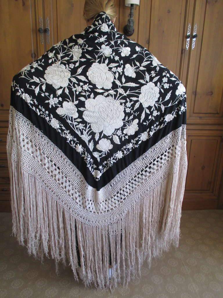 8b93a77c76d Antique Embroidered Black and Cream Spanish Piano Shawl