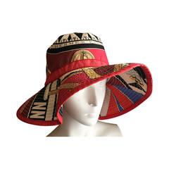 """Hermes Vintage """"Sextants"""" Cotton Bucket Hat"""