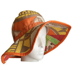 "Hermes Vintage ""Sextants"" Cotton Bucket Hat"