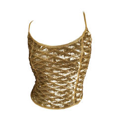 Ferragamo Vintage Gold Sequin Top w Corset Lace Back