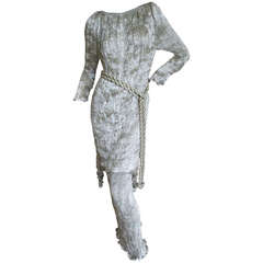 Patricia Lester 3 Pc Silver Silk Pleated Suit with Beaded Accent's