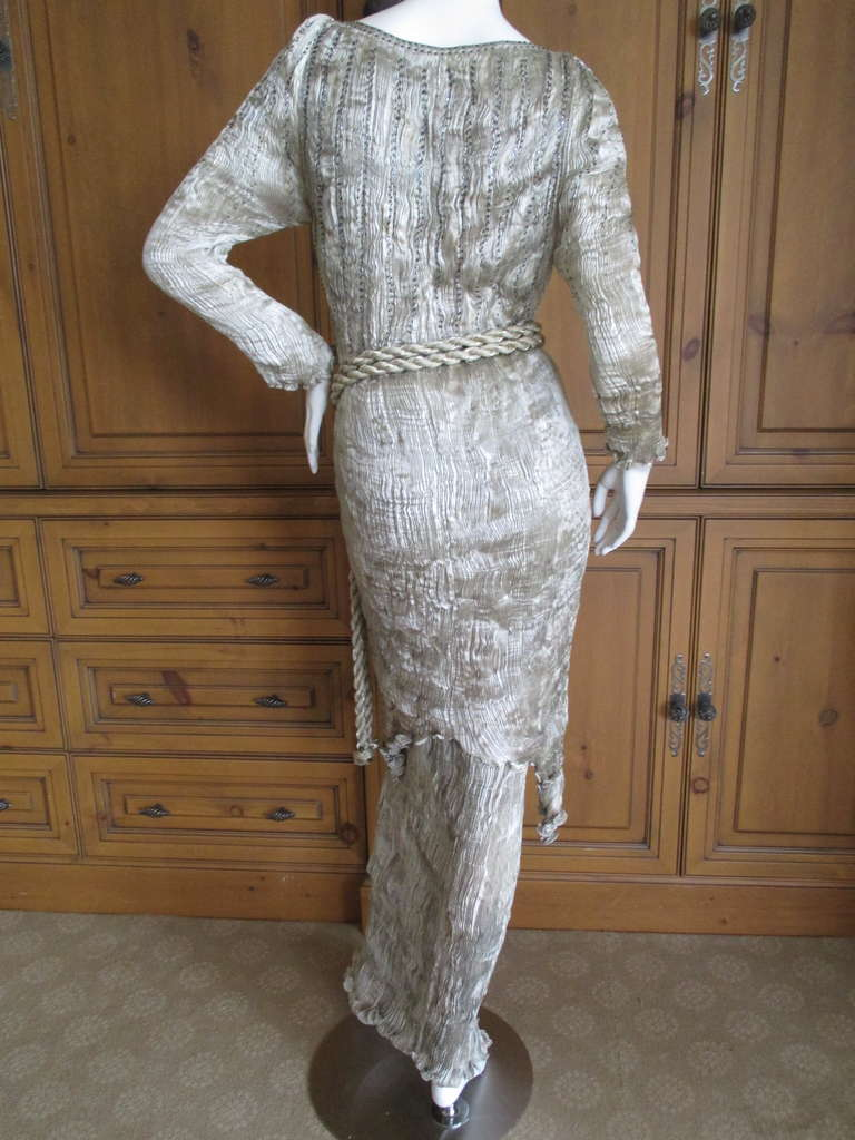 Patricia Lester 3 Pc Silver Silk Pleated Suit With Beaded