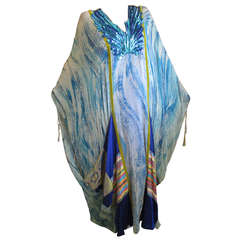 Thea Porter Couture Blue Caftan with Sequins for Martha Palm Beach