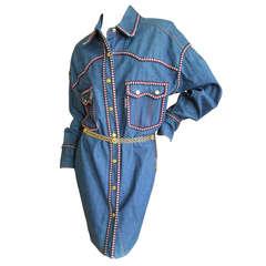 Chanel Western Cowboy Denim Shirt Dress P 2004