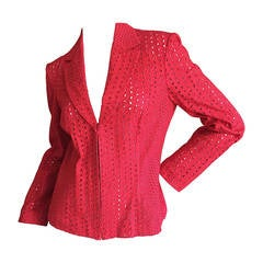 Gianni Versace Couture Vintage Red Embroidered Eyelet Jacket