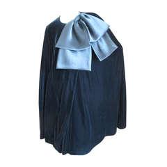 Givenchy Paris Vintage Black Velvet Cape with Satin Bow