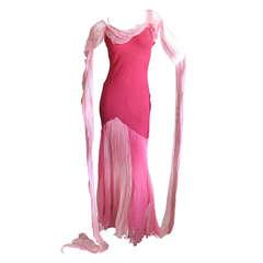 John Galliano Silk Chiffon Summer Dress with Long Flowing Scarves