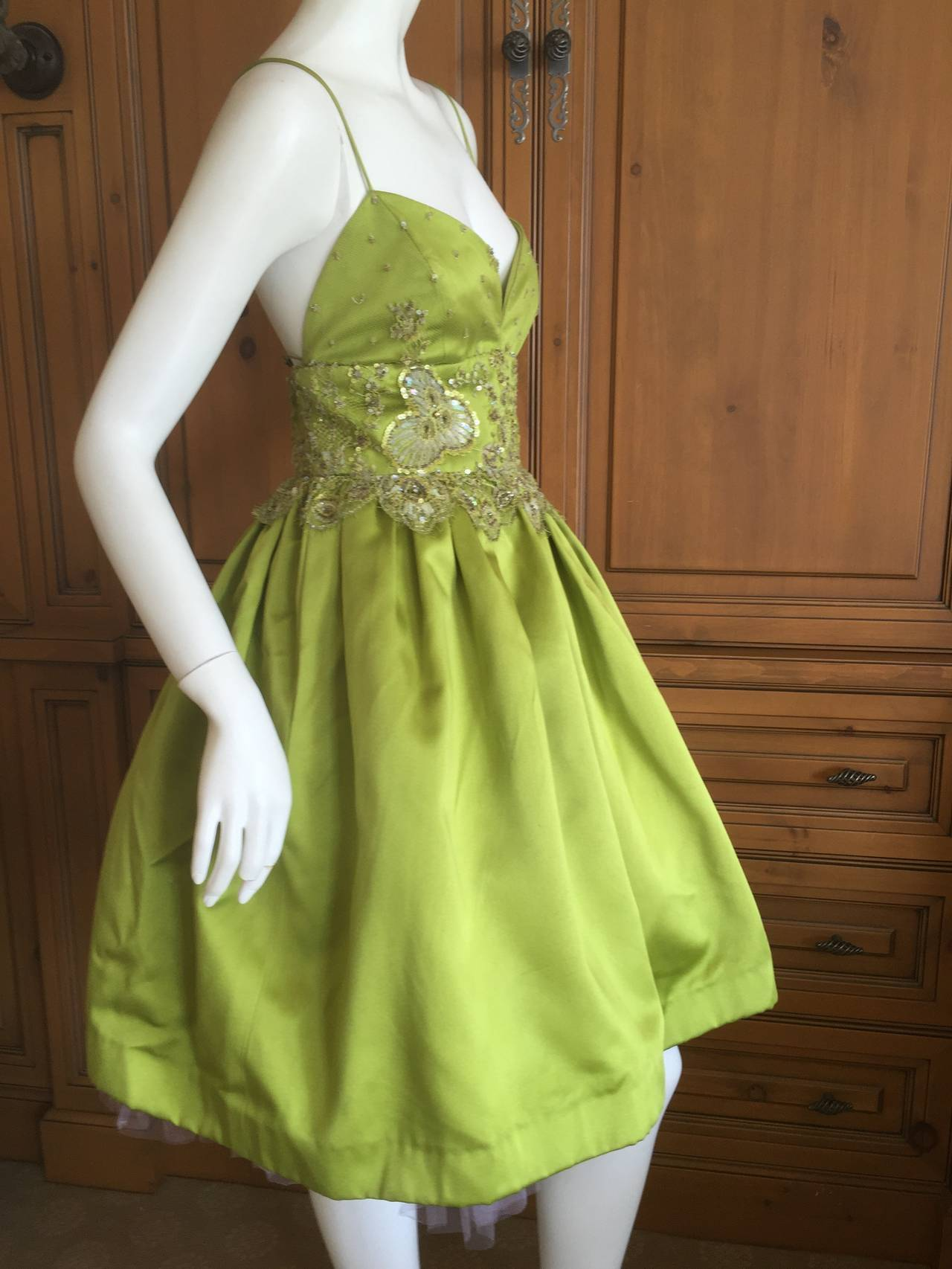 Bill Blass Vintage Green Silk Dress w Lace Embellishments 2