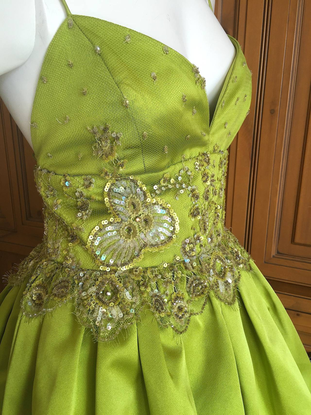 Bill Blass Vintage Green Silk Dress w Lace Embellishments 3