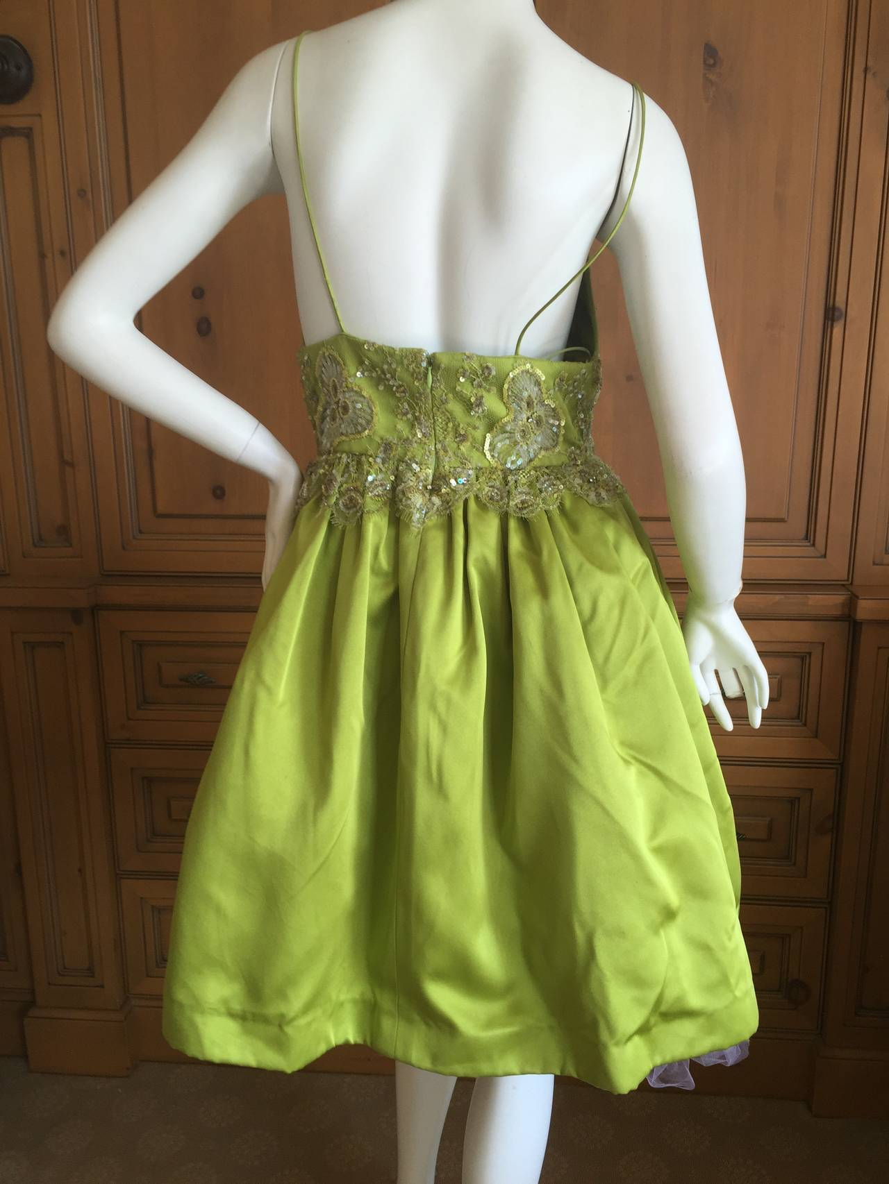 Bill Blass Vintage Green Silk Dress w Lace Embellishments 4