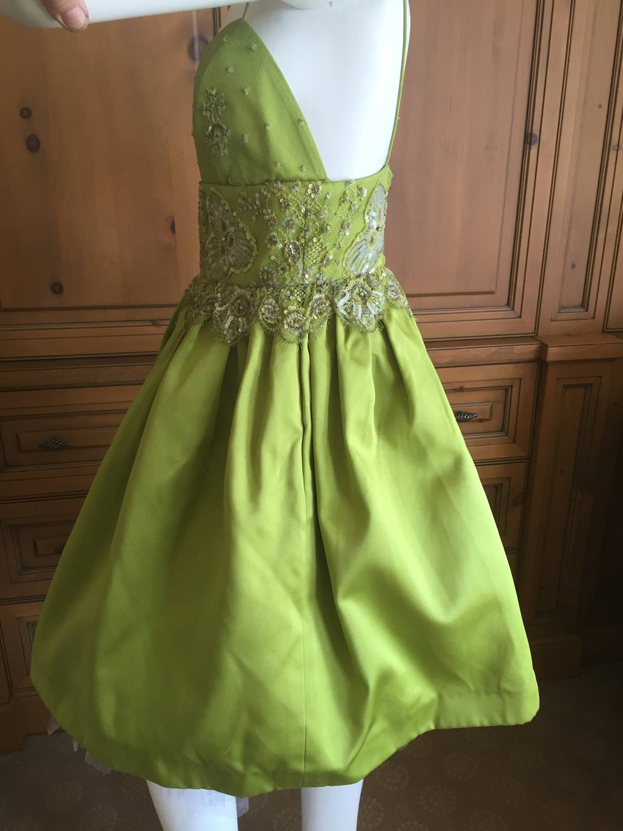 Bill Blass Vintage Green Silk Dress w Lace Embellishments 5