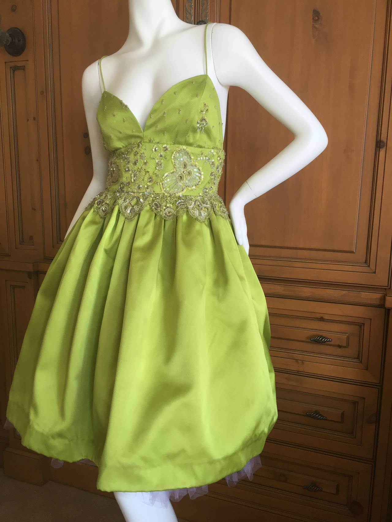 Bill Blass Vintage Green Silk Dress w Lace Embellishments 6